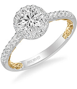 Theda Lyric Collection Classic  Side Stone Diamond Engagement Ring