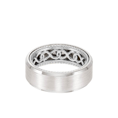 8MM Men's Contemporary Wedding Band - Bright Brush Finish and Bevel Edge with Inside Infinity Pattern and Rope Edge