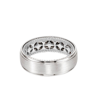 7MM Men's Contemporary Wedding Band - Bright Brush Finish and Round Edge with Inside Diamond Pattern and Rope Edge