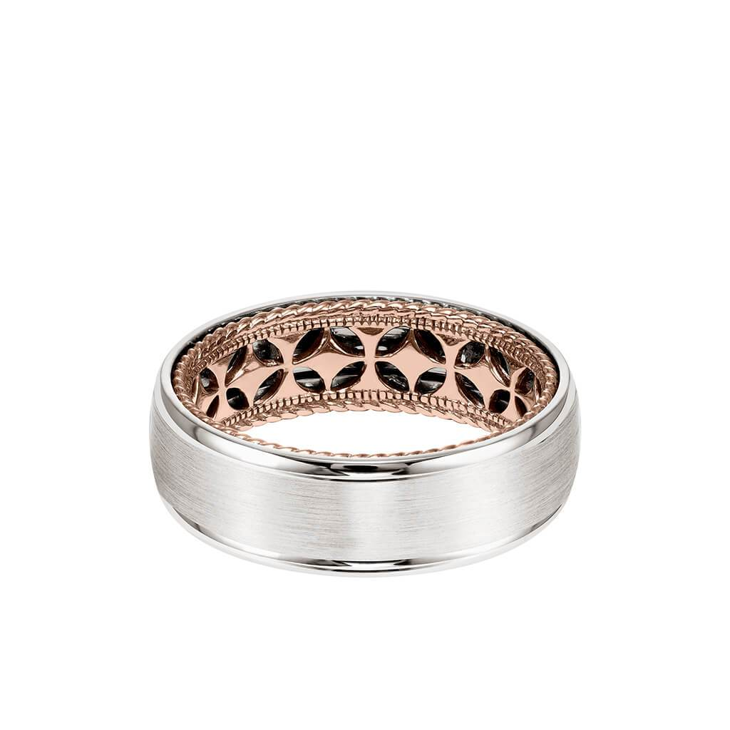 7mm Men S Contemporary Wedding Band Bright Brush Finish And Round Ed Artcarvedbridal