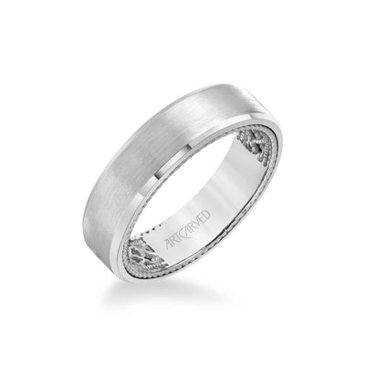 6MM Men's Contemporary Wedding Band - Satin Finish and Bevel Edge with Inside Net Pattern with Rope Edge