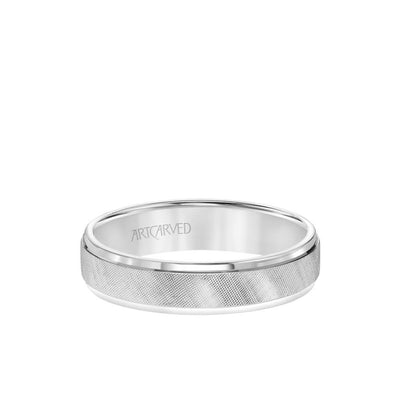 5MM Men's Classic Wedding Band - Etched Finish and Rolled Edge