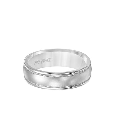 6.5MM Men's Wedding Band - Brush Finish with Milgrain Accents and Round Edge