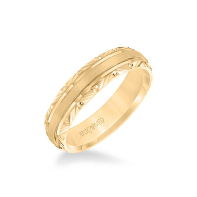 5.5MM Men's Wedding Band - High Polish Finish and Engraved Edge