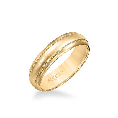 6MM Men's Wedding Band - Brush Finish with Milgrain and Round Edge
