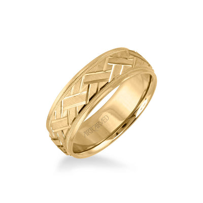 7MM Men's Classic Wedding Band - Criss-Cross Swiss Cut Engraved Design with Milgrain and Round Edge