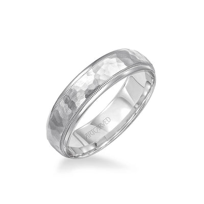 6MM Men's Wedding Band - Hammered Satin Finish and Round Edge