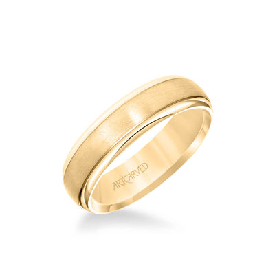 6MM Men's Classic Wedding Band - Brush Finish and Polished Round Edge