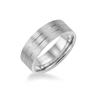7MM Men's Wedding Band - Engraved Design with Satin Finish