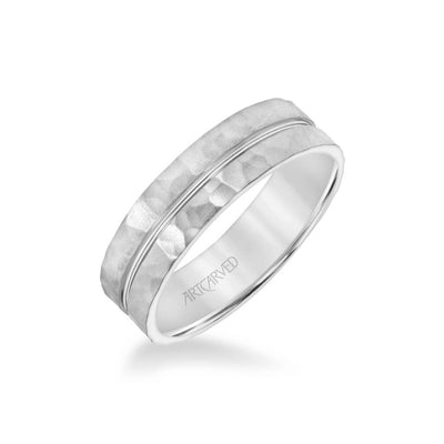 6MM Men's Wedding Band - Hammered Finish with Polished Center Groove