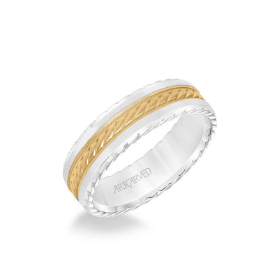 6.5MM Men's Wedding Band - Soft Sand Finish with Rope Center, and Bevel Edge with Side Rope Detail