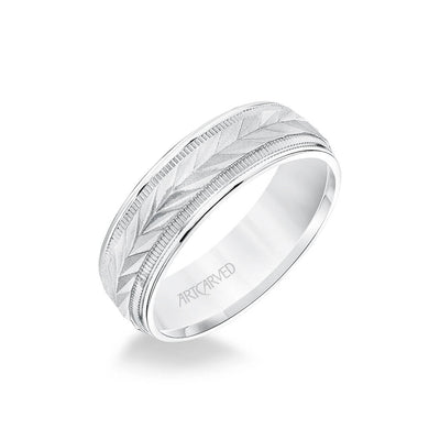 6.5MM Men's Wedding Band - Wheat Motif with Coin Edge Accents and Round Edge