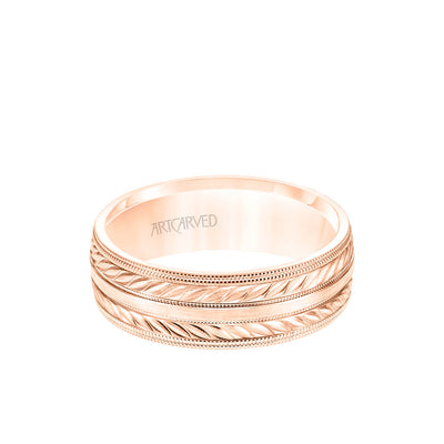 7MM Men's Wedding Band - Wheat Mofif with Milgrain Accents and Milgrain Edge