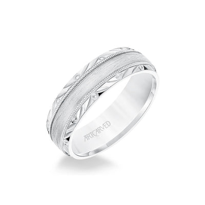 6.5MM Men's Wedding Band - Wire Emery Finish with Milgrain and Textured Vintage Design Bevel Edge