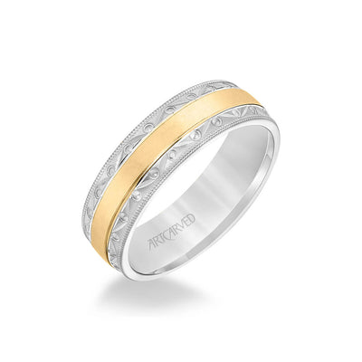 6.5MM Men's Wedding Band - Wire Emery Finish with Textured Vintage Design and Milgrain Bevel Edge