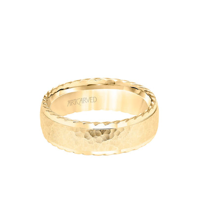 7MM Men's Wedding Band - Hammered Finish with Rope Edge
