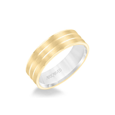 6.5MM Men's Wedding Band - Brush Finish with Polished Cuts with Yellow Gold Interior and Flat Edge
