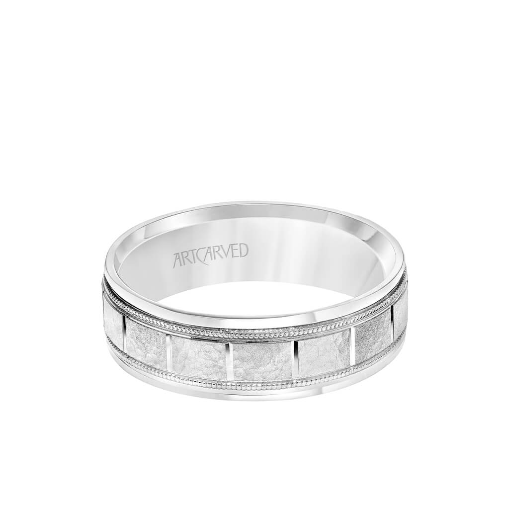 6 5mm Men S Wedding Band White Gold Stone Finish With Vertical Cut C Artcarvedbridal