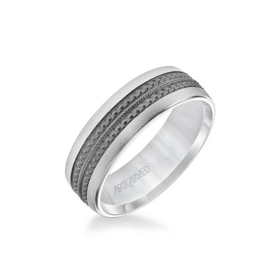 7MM Men's Wedding Band - Matte Finish with Textured Black Rhodium with Milgrain Accents and Flat Edge