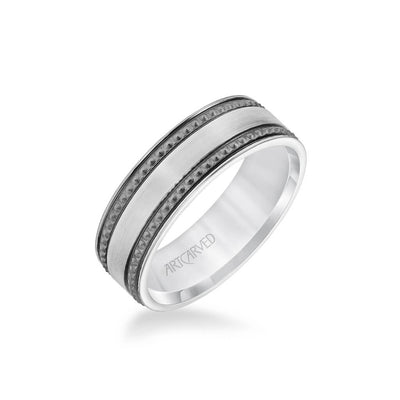 7MM Men's Wedding Band - Satin Soft Sand Finished with Textured Black Rhodium and Flat Edge