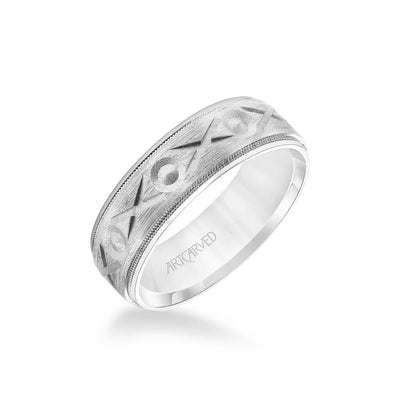 7MM Men's Wedding Band - Brush Finish with Swiss Cut XO Design with Milgrain Detail and Round Edge