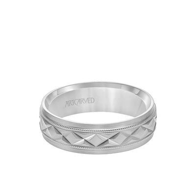 6.5MM Men's Wedding Band - Brush Milgrain Finish with Swiss Cut X Design and Flat Edge