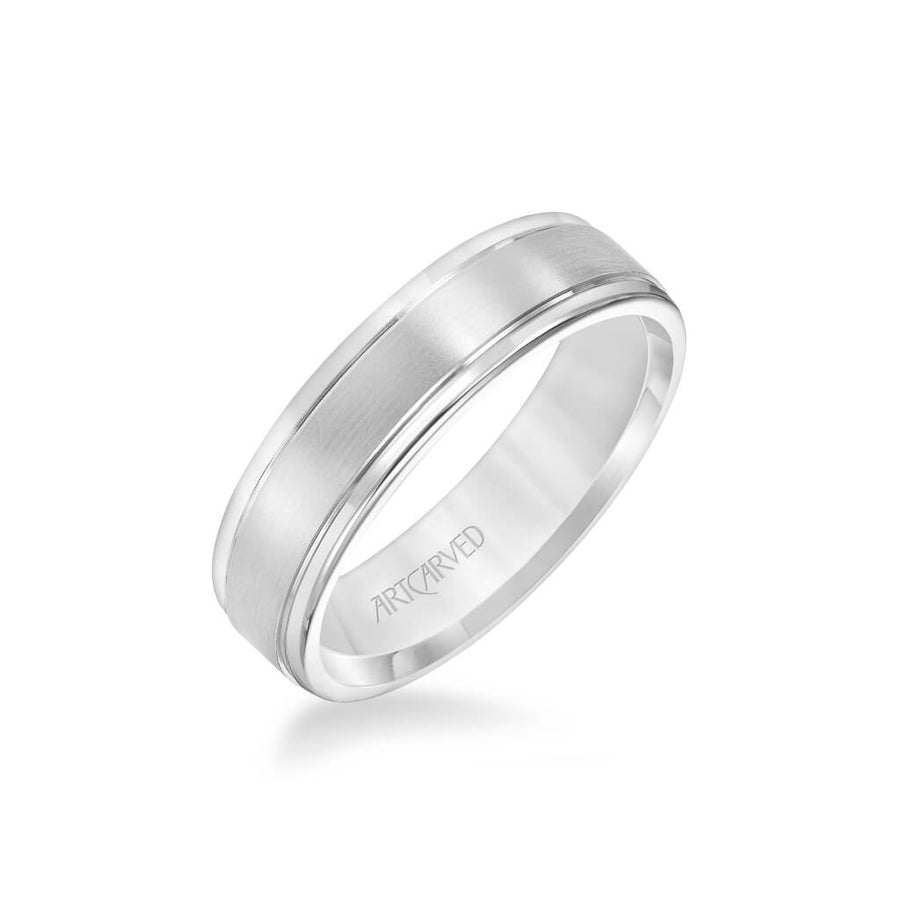 6MM Men's Classic Wedding Band - Brush Finish and Round Edge