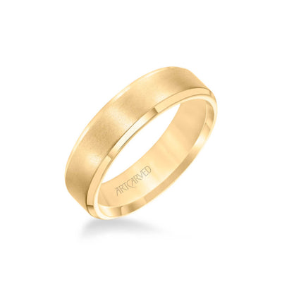 6MM Men's Classic Wedding Band - Brush Finish and Bevel Edge