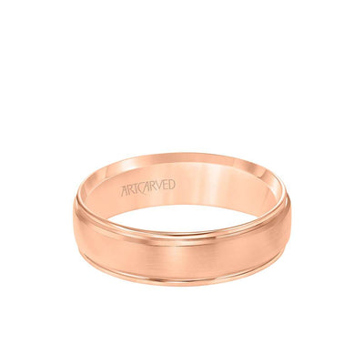 6MM Men's Classic Wedding Band - Bright Brush Finish and Round Edge