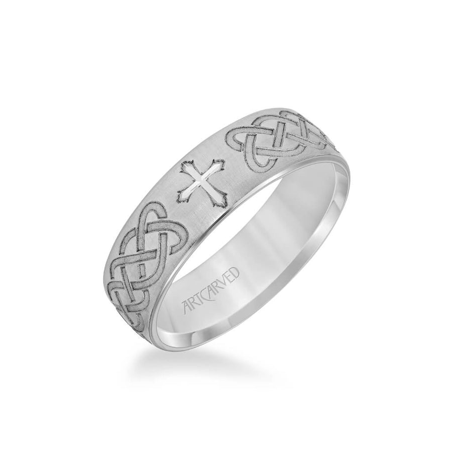 6.5MM Men's Wedding Band - Brush Finish with Cross and Infinity Design Center
