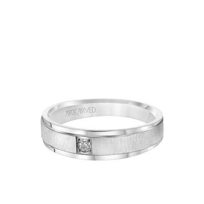 6MM Men's Classic Single Stone Diamond Wedding Band -  Vertical Brush Finish and Rolled Edge