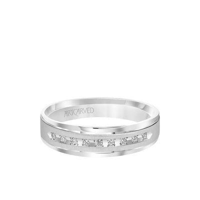6MM Men's Classic Nine Stone Diamond Wedding Band - Vertical Brush Finish and Rolled Edge