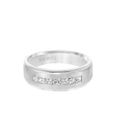 7MM Men's Contemporary Seven Stone Diamond Wedding Band - Brush Finish and Step Edge