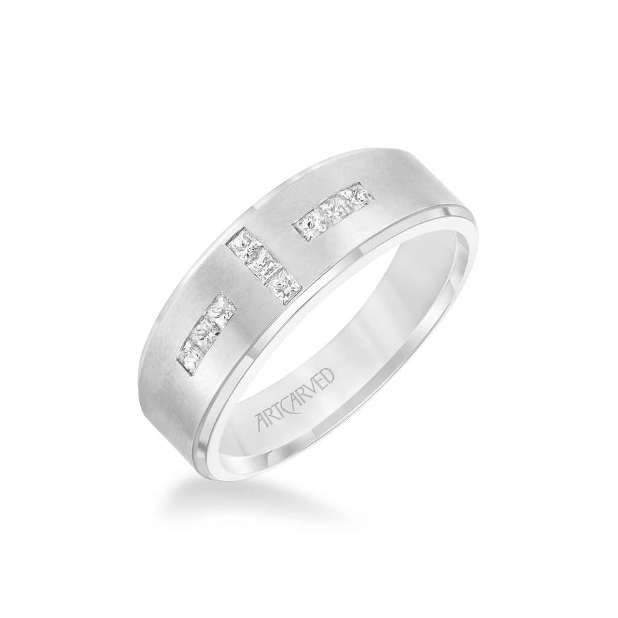 7MM Men's Contemporary Diamond Wedding Band - Brush Finish and Step Edge
