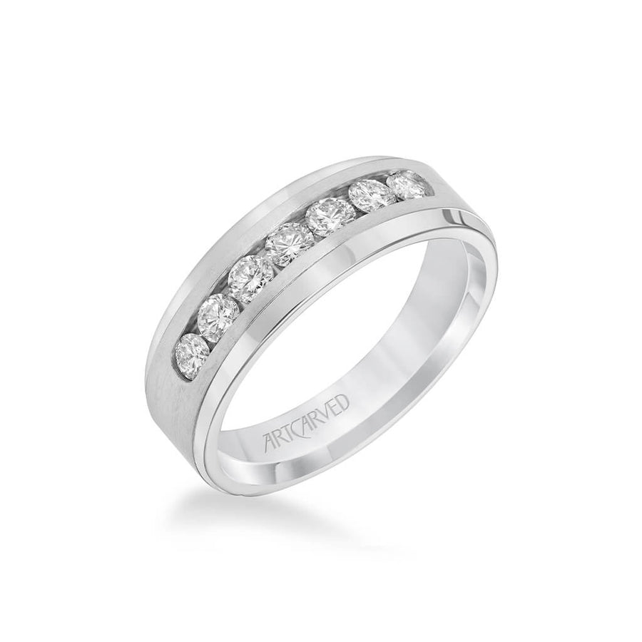 7.5MM Men's Wedding Band - Channel Set Diamonds with Tapered Band and Bevel Edge