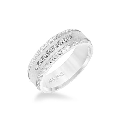 7MM Men's Seven Stone Diamond Wedding Band - Crystalline Finish with Milgrain and Leaf Design Bevel Edge