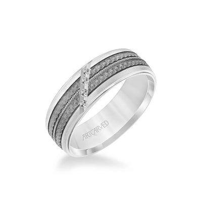 7MM Shades of Grey Collection Four Stone Diamond Wedding Band  - Textured Black Rhodium Detail and Flat Edge