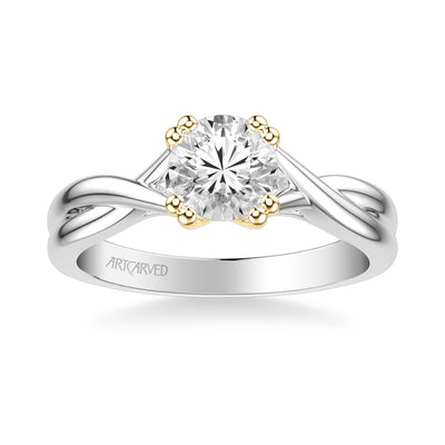 Solitude Contemporary Solitaire Twist Diamond Engagement Ring