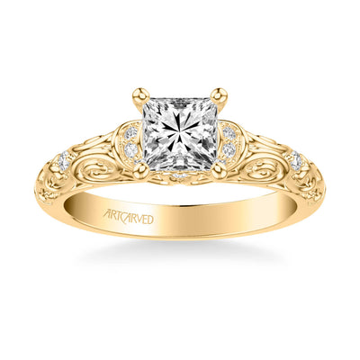 Peyton Vintage Side Stone Diamond Engagement Ring