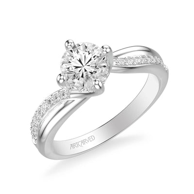 Stella Contemporary Side Stone Twist Diamond Engagement Ring