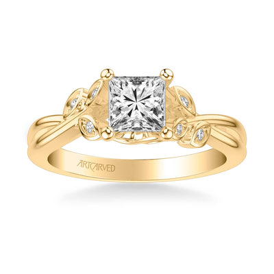 Corinne Contemporary Side Stone Floral Diamond Engagement Ring
