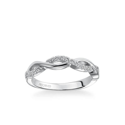 Bella Contemporary Half Diamond Half Polished Twist Wedding Band