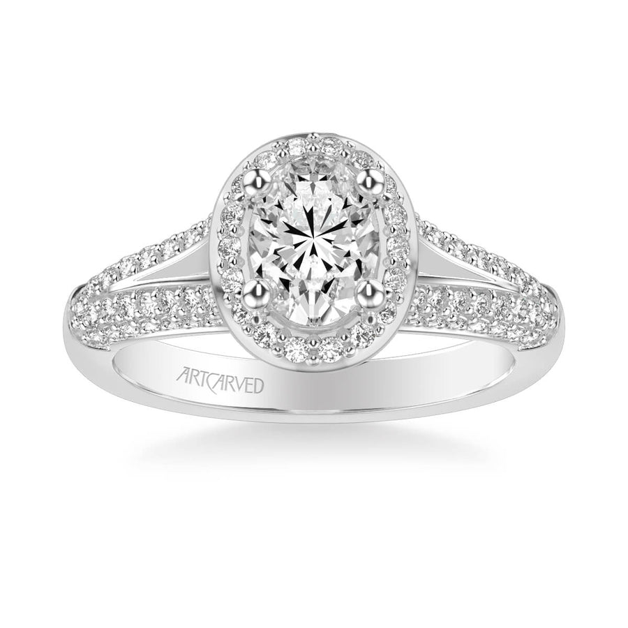 Ariel Classic Oval Halo Diamond Engagement Ring