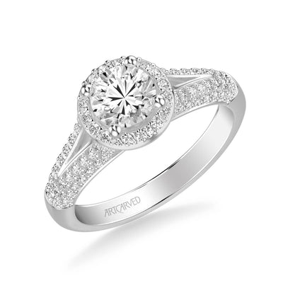 Reese Classic Round Halo Diamond Engagement Ring
