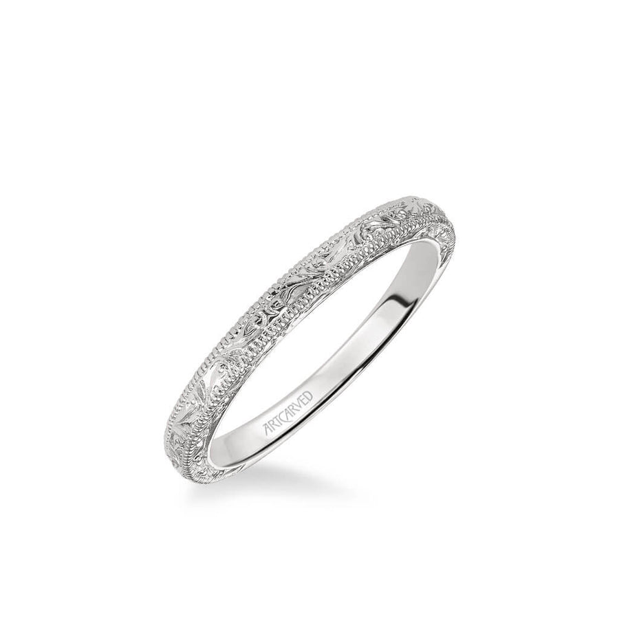 Bernadette Vintage Engraved and Milgrain Wedding Band