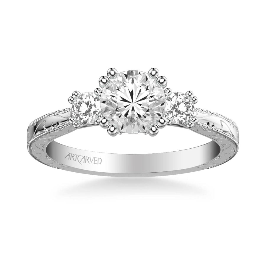 Anabelle Vintage Three Stone Diamond Engagement Ring
