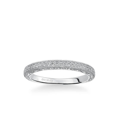 Anabelle Vintage Diamond and Milgrain Engraved Wedding Band
