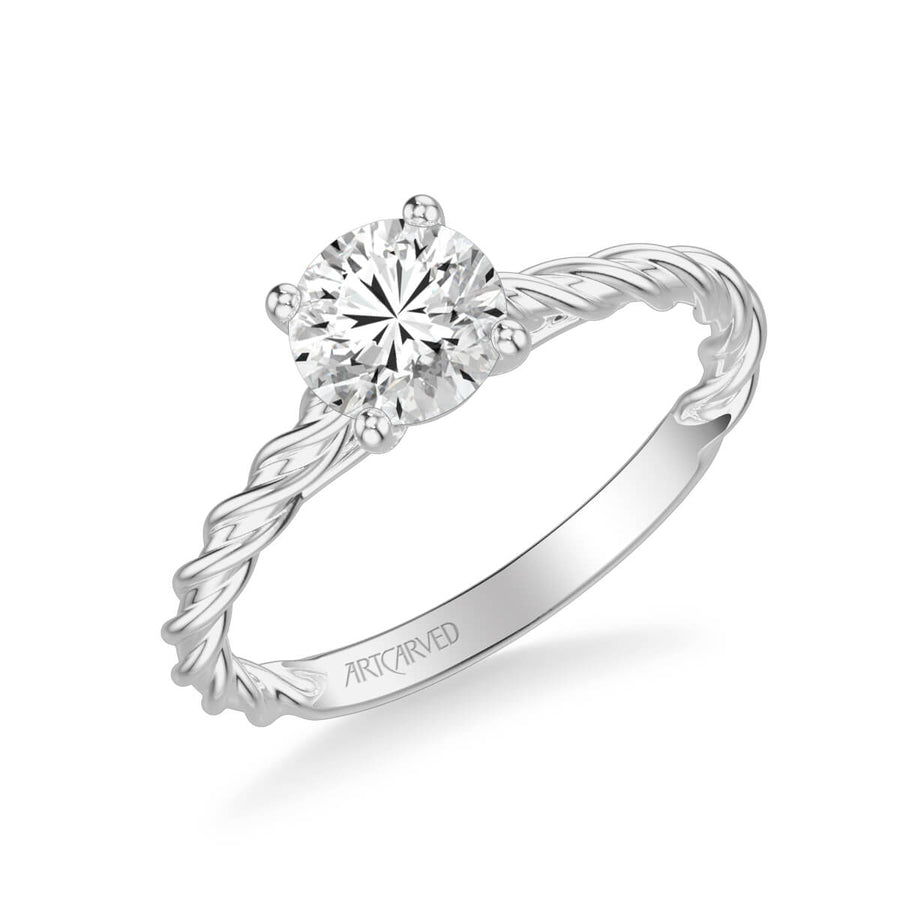 Joanna Contemporary Solitaire Rope Diamond Engagement Ring