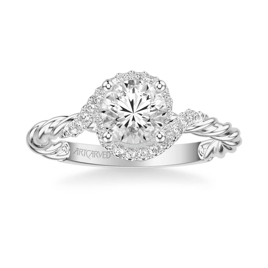 Jolie Contemporary Round Halo Rope Diamond Engagement Ring