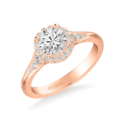 Farrah Vintage Round Halo Diamond Engagement Ring